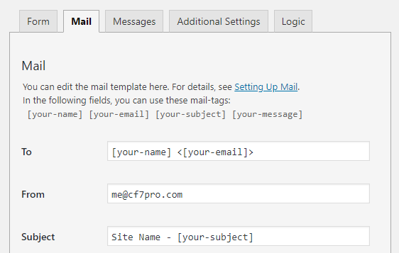 To, From, and Subject fields in Contact Form 7 mail settings