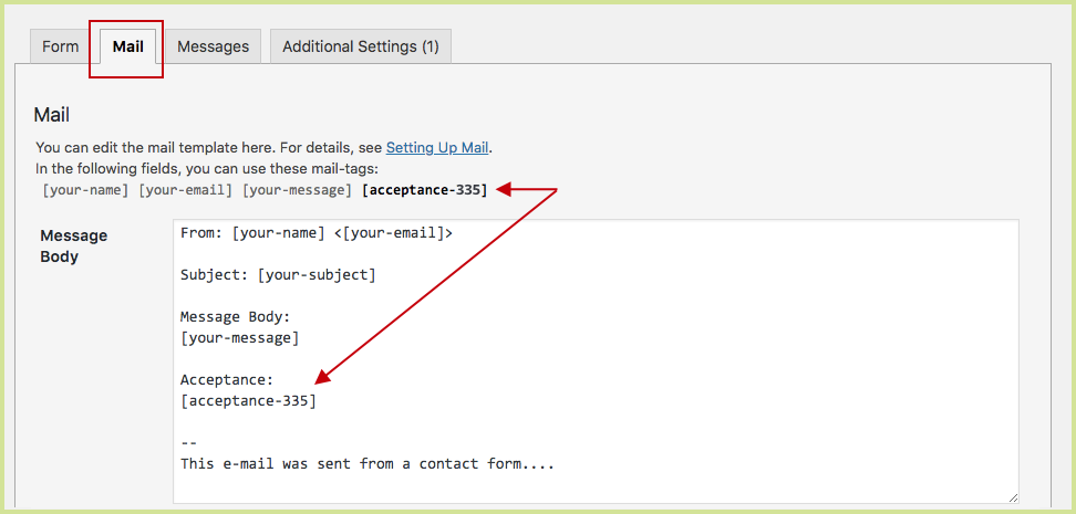 CF7 Mail Setting - Acceptance Checkbox