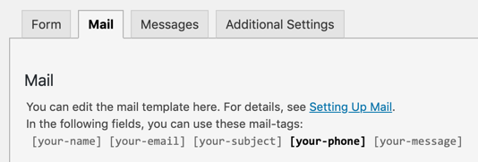 Form Tags not already used in the Mail Tab are shown in bold