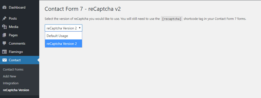 CF7 reCAPTCHA v2 plugin settings