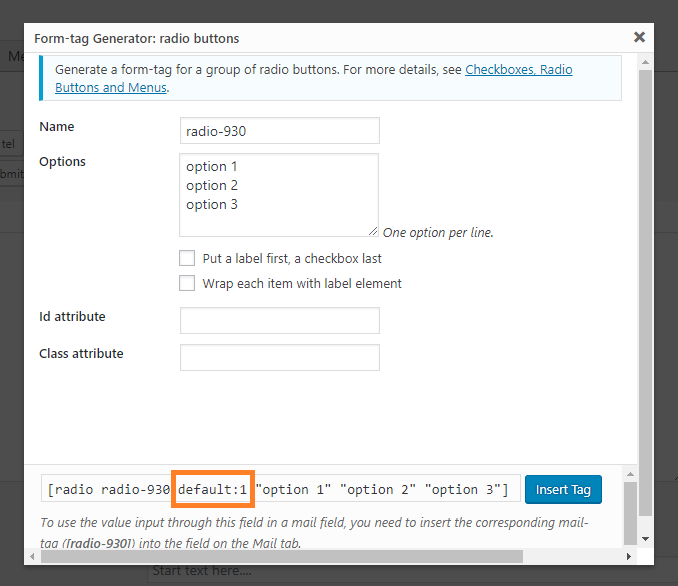 Contact Form 7 Radio Button Default Value