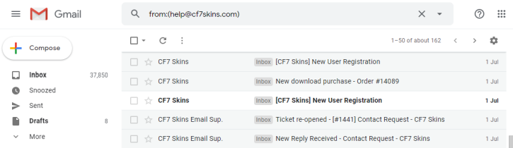list of CF7 emails in Gmail inbox
