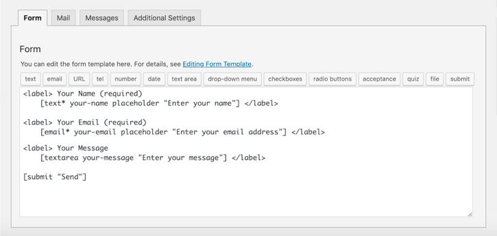 Form section with updated fields with its placeholder using tag-generator
