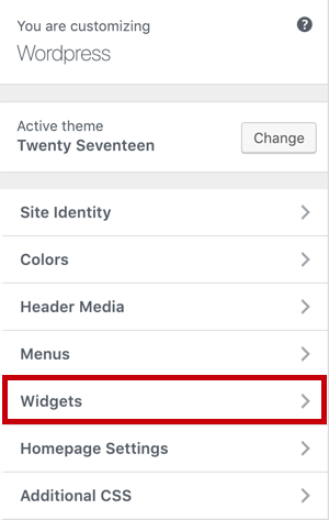 Go to Customize - Widgets