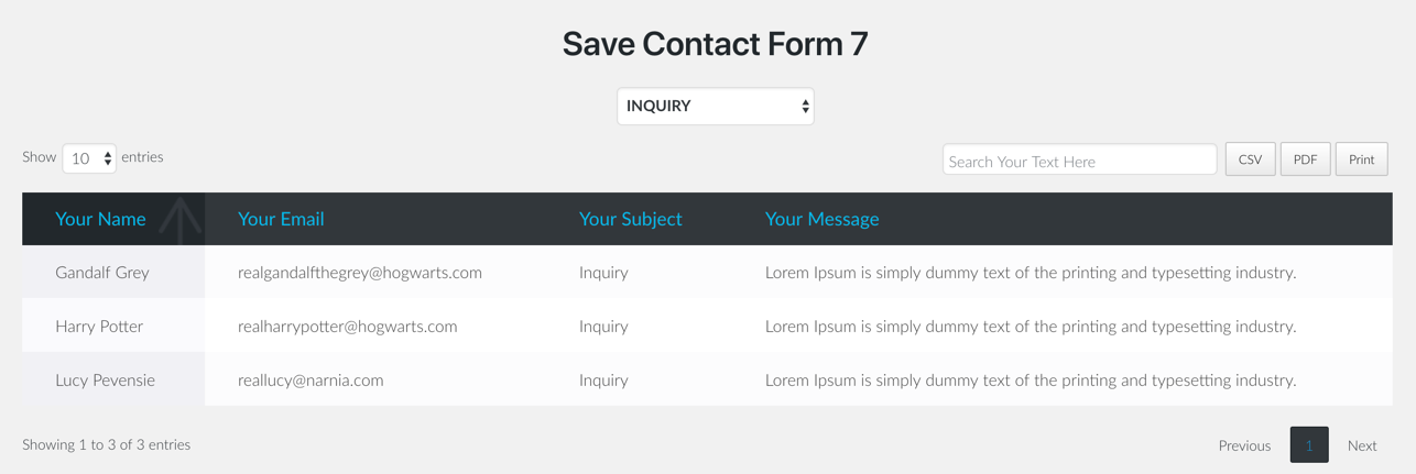 Save Contact Form 7 screen
