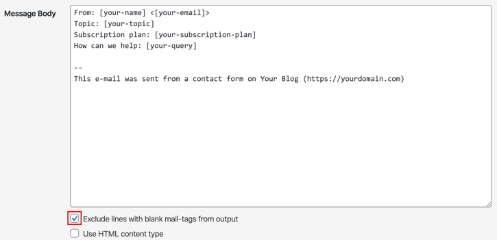 Excluding lines with blank mail-tags