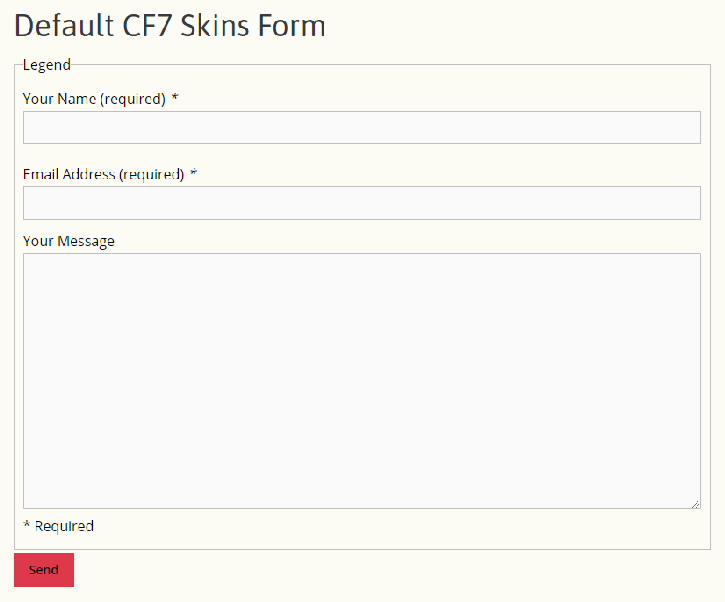 Default CF7 Skins form added using Contact Form 7 block