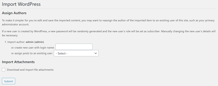 Assign Authors to Imported Form