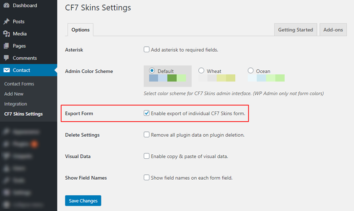 Enable export checkbox in Contact Form 7 Skins Settings