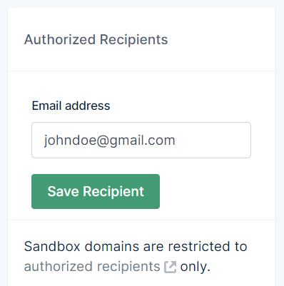Adding authorized email in Mailgun