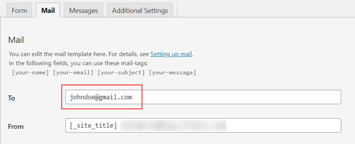 Email Address configured in the To field