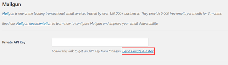 Link to get Private API Key - Setting up external email with contact form 7