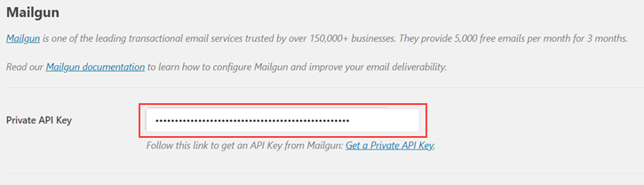 Mailgun Private API Key - Setting up external email with contact form 7