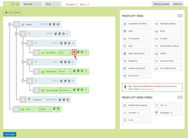 Edit form field in CF7 Skins Visual Editor