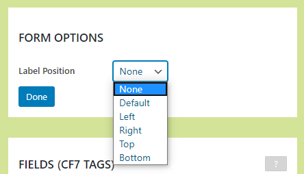 Label Options in Form Options panel