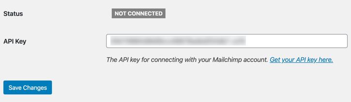 Adding MailChimp API Key