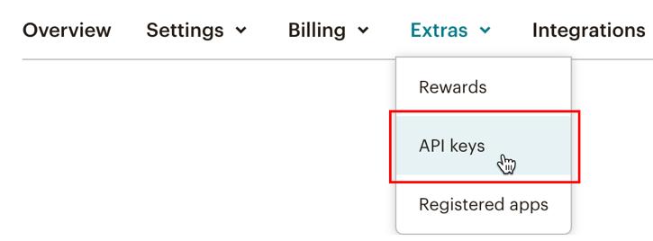 Navigating to MailChimp API Key