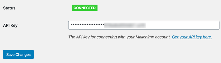 Connected with MailChimp API
