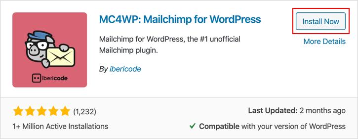 Installing MailChimp for WordPress