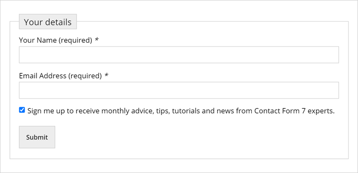 MailChimp Integrated Contact Form 7 form