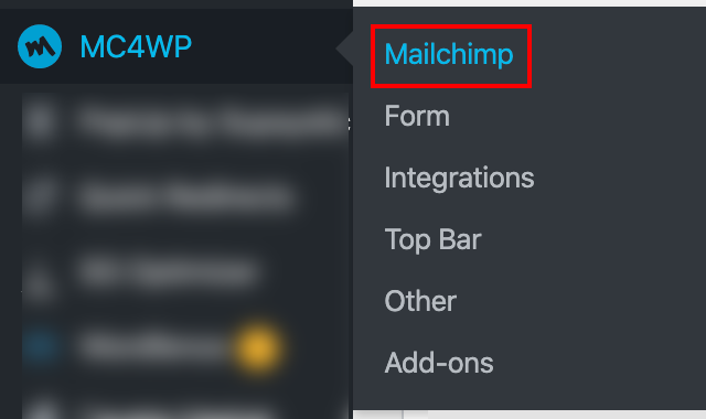 MC4WP in the WordPress Admin Navigation Bar