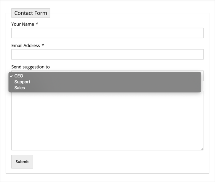 Adding selectable email addresses in Contact Form 7