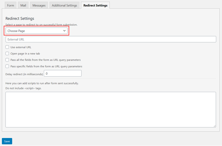 Redirect tab of Redirection for Contact Form 7