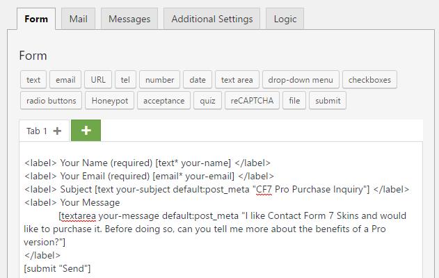 Using default values in CF7 - Meta Tag