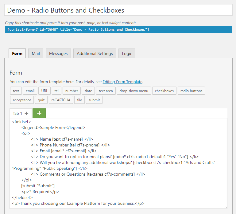 Sample Form - Radio Buttons and Checkboxes