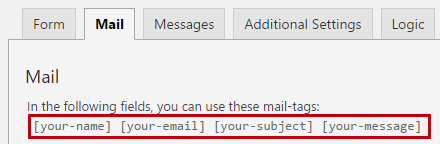 Form tags shown on top of Mail Tab